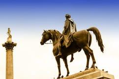 Monumente im Trafalgar-Platz London England Stockfotos