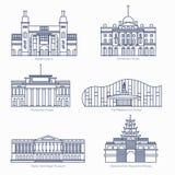 Monumente verdünnen Linie Vektorikonen Amsterdam-Staatsmuseum, Somerset House, nationale Art Center, Zustands-Einsiedlerei Stockbilder