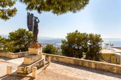 Monumenten en beeldhouwwerken Griekenland, Chania, Kreta Traditionele schilderstraat Stock Foto
