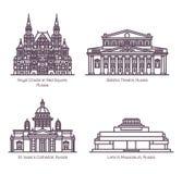 Monumenten van Russische Architectuur in dunne lijn vector illustratie
