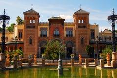 Monumenten van Sevilla in Park Maria Luisa Stock Foto's