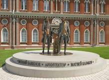 Monumentenarchitect Vasily Bazhenov en Matvey Kazakov in Tsaritsyno stock foto