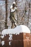 Monumentet av den berömda indiska politiska och andliga ledaren Mahatma Gandhi i Moskva, Ryssland Fotografering för Bildbyråer