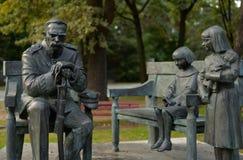 Monumentet av Jozef Pilsudski har lokaliserats i Sulejowek nära Warszawa A royaltyfri foto