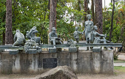 Monumentet i Parque Vargas, stad parkerar i Puerto Limon, Costa Rica Arkivbilder