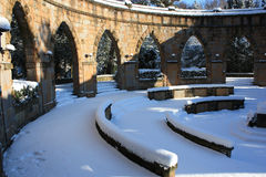 monumentet kriger vinter Arkivfoto