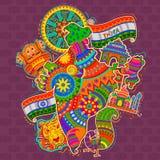 Monumentet och kultur av Indien i indisk konst utformar royaltyfri illustrationer