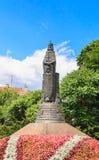 Monumentet som gör till kung Mindaugas av Litauen i Druskininkai royaltyfri fotografi