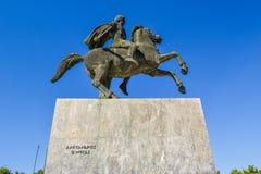 Monumentet till Alexander i Thessaloniki arkivbild