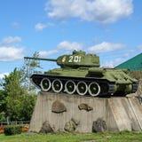 Monumentet till behållaren T-34 Arkivfoto
