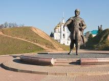 Monumentet till prinsen Yuri Dolgoruky i Dmitrov Arkivbild