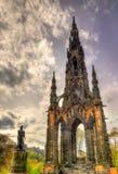 Monumentet till Sir Walter Scott Arkivfoto