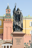 MonumentHieromartyr ermogen, patriark av Moskva och all Ryssland, i Alexander Garden Moscow Arkivbild