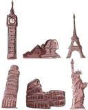 Monumenti architettonici, vettore Immagine Stock