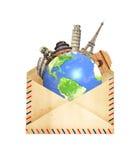 Monumenti famosi del circondare del mondo del pianeta Terra in vecchio Fotografia Stock Libera da Diritti