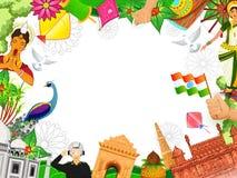 Monumenti indiani famosi, ufficiale di esercito di saluto con i ballerini classici ed altri elementi decorati su fondo bianco per illustrazione vettoriale