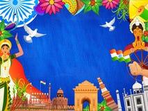 Monumenti indiani famosi, ufficiale di esercito di saluto con i ballerini classici ed altri elementi decorati su fondo blu per il illustrazione vettoriale