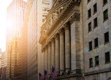 Monumenti storici di New York del distretto finanziario Fotografie Stock