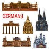 Monumenti storici e sightseeings della Germania royalty illustrazione gratis