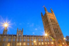 Monumenti storici magnifici a Londra: Palazzo di Westminster immagine stock libera da diritti