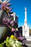 Monumento Христофор Колумб с украшением цветка, Мадридом, Испанией Стоковое Фото