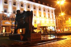 Monumento ad Ulas Samchuk in Rivne, Ucraina Immagini Stock