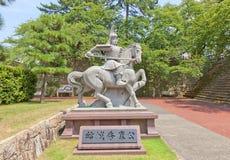 Monumento ad Yuki Hideyasu nel castello di Fukui, Giappone Fotografia Stock