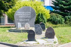 Monumento ai pionieri che hanno sistemato Zulawy dopo la seconda guerra mondiale fotografia stock