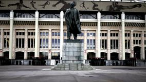 Monumento al capo della perestrojka in Luzhniki-Vladimir Lenin! immagine stock