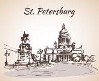 Monumento al emperador Nicholas en St Petersburg stock de ilustración