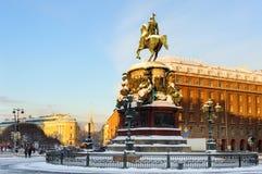 Monumento al emperador Nicolás I en St Isaac Square Imagen de archivo