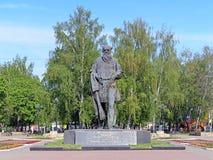 Monumento al escritor ruso Lev Tolstoy en Tula Foto de archivo