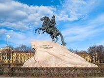 Monumento al fundador de la ciudad de St Petersburg, emperador P Imagen de archivo libre de regalías