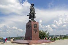 Monumento al fundador del cosaco Yakov Pokhabov de Irkutsk Foto de archivo