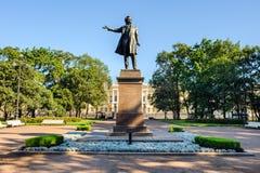 Monumento al grande poeta russo Alexander Pushkin Fotografie Stock Libere da Diritti