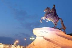 Monumento al jinete de bronce por la tarde, St Petersburg Imagen de archivo