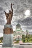 Monumento al príncipe Vladimir y la catedral del Volodymyr, A del St Foto de archivo libre de regalías