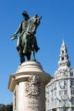 Monumento al primer rey de Portugal Don Pedro IV en el Liber Imagen de archivo