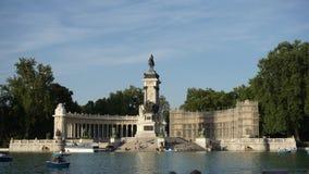 Monumento Alfonso XII Parque de El Retiro. Madrid. Lake in the middle of Parque de El Retiro in Madrid Monumento Alfonso XII stock photos