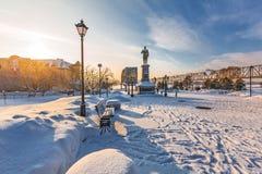 Monumento all'imperatore russo Alexander il terzo Novosibirsk, Russia immagine stock libera da diritti