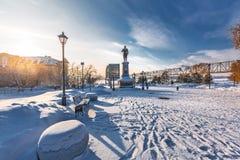 Monumento all'imperatore russo Alexander il terzo Novosibirsk, Russia fotografia stock libera da diritti