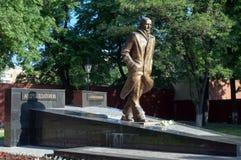 Monumento ao escritor Andrei Platonov do russo na cidade de Voronezh Fotografia de Stock Royalty Free