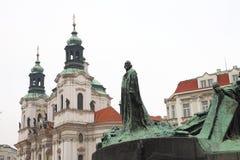 Monumento ao Guss de janeiro em uma área em Praga Foto de Stock Royalty Free