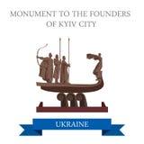 Monumento ao marco liso do vetor de Kiev Ucrânia da cidade de Kyiv dos fundadores ilustração royalty free
