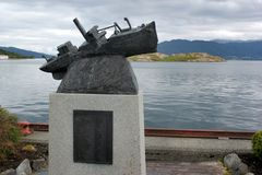 Monumento ao navio de Folgefonden, Noruega fotografia de stock