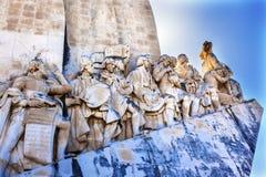 Monumento ao porto de Tagus River Belém Lisboa dos exploradores de Diiscoveries fotos de stock royalty free