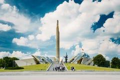 Monumento cerca de construir el museo Belorussian del gran patriótico Fotos de archivo