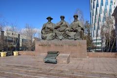 Monumento che caratterizza i tre grandi giudici a Astana immagine stock