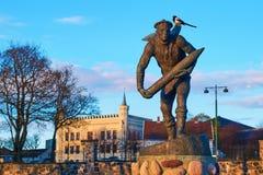 Monumento che commemora il lavoro eroico fatto dalla marina mercantile norvegese nella seconda guerra mondiale a Oslo, Norvegia fotografia stock