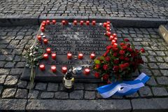 Monumento che commemora le vittime olandesi Auschwitz-Birkenau Fotografia Stock